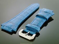 Aqua Master Techno genuine leather 22mm wide Watch Band blue color silver loop