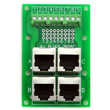 RJ45 8P8C Jack 4-Way Buss Breakout Board, Terminal Block, Connector.