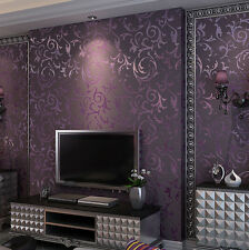 3D Modern Dark Purple thick embossed wallpaper Mural Decor Living room