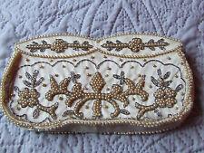 Vintage beaded clutch bag ivory beaded REPAIR