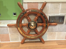 Original Vintage Ships Wheel Wood Brass Trim Boat Nautical Maritime Marine Boat