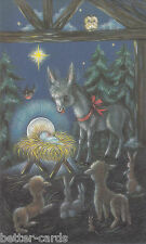 Happy Christmas Vintage 1970's Greeting Card ~ Merry Xmas Nativity Little Donkey