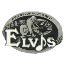 Pewter Elvis Guitar King of Rock & Roll Metal Belt Buckle Vintage Western Cowboy