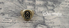 Gothic Punk style Pirates Seal  Jewelry Retro Copper Ring Size 9.5