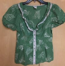 Vtg Odille Anthropologie A BIT-OF-LUCK Green Butterflies Cotton Top Size 6
