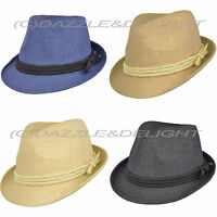 TRILBY HAT SUMMER TRILBY HAT WITH ROPE RIBBON VINTAGE STAW LOOK TRILBY HAT HATS