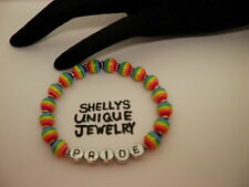 "Handmade 7"" PRIDE AWARENESS LBGT Rainbow Bead Bracelet/Jewelry/Women/Men"