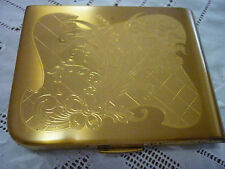 Vintage Elgin Brushed & Etched Floral Goldtone Rectangular Powder/Mirror Compact