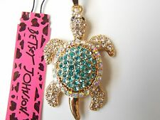 Betsey Johnson Rhinestone little turtle Pendant Necklace #Z73