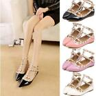 Womens T-strap Studded Flats Pointed Toe Shoes Single Sandals Shoes Newest Style