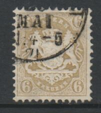 Germany (Bavaria) - 1870/73, 6k Bistre - Wmk Narrow Mesh 14mm - G/U - SG 55B