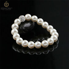 Luxury Shiny Pearl Crystal Ball Beaded Elastic Charm Barcelet For Women Jewelry