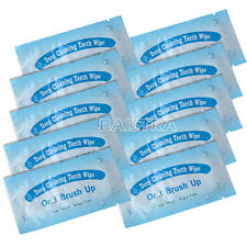 50PCS Dental Teeth Oral Care Finger Brush Up Wipes Deep Cleaning Whitening UK