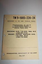 Original U.S. Army Issued Machine Gun M60 7.62 MM Care & Instruction Book,1971d.