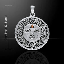 Autumn Sun .925 Sterling Silver Pendant with Garnet Gemstone by Peter Stone