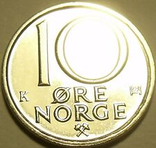 Gem Brilliant Unc Norway 1991 10 Ore~Last Year Ever Minted~Excellent~Free Ship