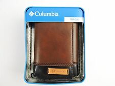 Columbia MEN'S PREMIUM LEATHER Wallet Brown Black Two-Tone Trifold