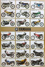 "YAMAHA ""21 MODELS FROM 1965-1986"" POSTER -RZS350,XS850,TR1,RS100,XJ650,DT2,XS750"