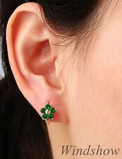 Elegant 18K Gold GF Green Emerald & Star Flower Huggie Hoop Earrings Jewellery
