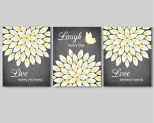 3 prints, modern wall art for living room, bedroom - flowers, yellow white grey