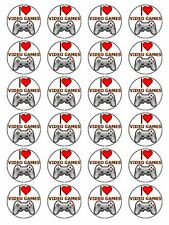 "x24 1.5"" I Love Video Games Birthday Cupcake Topper On Edible Rice Paper"