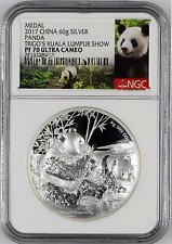 NGC PF70 2017 Malaysia Trigos Money Show Panda Medal Silver 60g Only 66 Minted