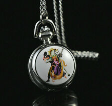 Disney Princess Tangled Necklace Pocket Pendant Watch Child Girl Watch Fashion C