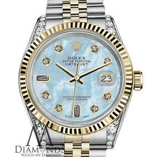 Woman's Rolex 26mm Datejust 2 Two Tone Baby Blue MOP Mother Of Pearl 8+2 Diamond