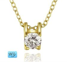 Real Ladies Girls Small Diamond Square Pendant Necklace 18K Gold S/F Gift Box
