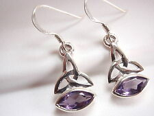 Celtic 8x4mm Marquise Amethyst Earrings 925 Sterling Silver Dangle Corona Sun
