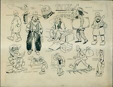 "1910 C.N. Landon Cartooning Course ""Wrinkles"" Plate #3 Characters - ""Cullud"" Man"