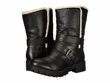 NEW NINE WEST BLACK LEATHER SHEARLING BOOTS SIZE 7.5 M $149