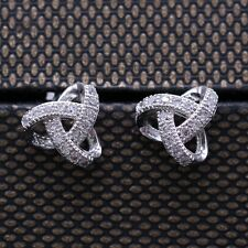 Fashion Chic White Crystal Stud Earring 18K White Gold Plated CZ Women Earrings