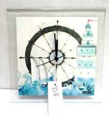 Carneol Wall Clock Handcrafted Analog Glass Nautical Lighthouse Blue White