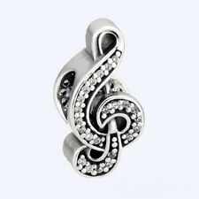 CRYSTAL SWEET MUSIC NOTE  .925 Sterling Silver European Charm Bead