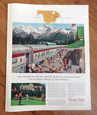 1958 Canadian Pacific Railroad Ad Banff-Lake Louise Route Scenic Domes
