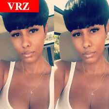 VRZ Human Hair Short Black Wigs Cheap Pixie Cut Brazilian Hair Wigs for Women