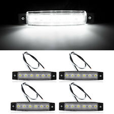 4x 6-LED Car Truck Boat Trailer Side Marker Indicator Tail Lights Lamp White 12V