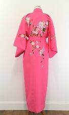 Beautiful Vintage Pink Japanese Kimono Embroidered Blossoms Fully Lined