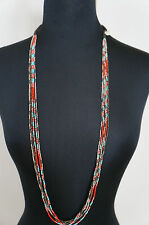 "NEW Chan Luu Red Turquoise Black Seed Bead 39"" Long Short Multi Strand Necklace"