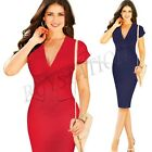 Women Sexy V-Neck Bodycon Cocktail Evening Slim Party Wear To Work Pencil Dress