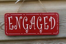 Lovely Decorative Handcrafted Wooden sign ENGAGED / VACANT (White on Red)