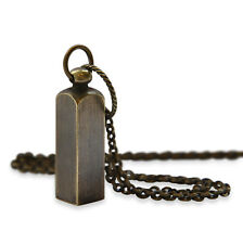Secret Square Capsule Brass Necklace Jewelry Urn with Pendant Secret Stash