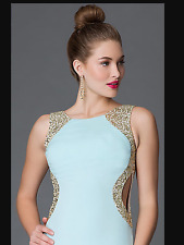 PROM DRESS TURQUOISE AND GOLD SEQUIN Floor-Length Sequin Hearts Open-Back SIZE 3