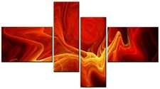 4 PANEL TOTAL 138x78cm CANVAS DIGITAL WALL ART ABSTRACT PRINTS Crunch Red