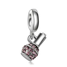 Nail Polish Pink CZ European Charms Bead Fit Silver Bracelet&Necklace Chain