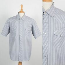 USA VINTAGE RETRO MENS WESTERN SNAP FASTEN SHIRT SHORT SLEEVE COWBOY CHORE XL