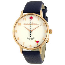 Metro 5 O'Clock White Dial Navy Leather Ladies Watch KSW1040