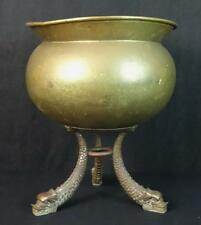 Unusual Antique Brass Jardinere Bowl with Molded Dragon Figural Legs