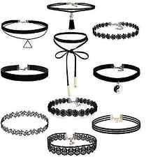 10 Stück Choker Halsketten Set Gothic Tattoo Spitze Choker Ketten Stretch Samt